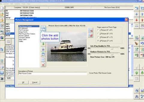 FORCE5 Marine Survey Report Software - add photos and resize in survey